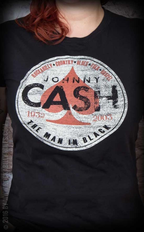 Ladies Shirt Johnny Cash Spade Rockabilly Rules