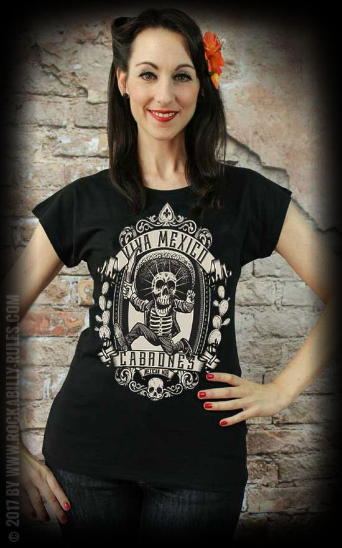 Mexican Mob - T- Shirt Femme Viva Mexico Cabrones 17a1d55dcfb2
