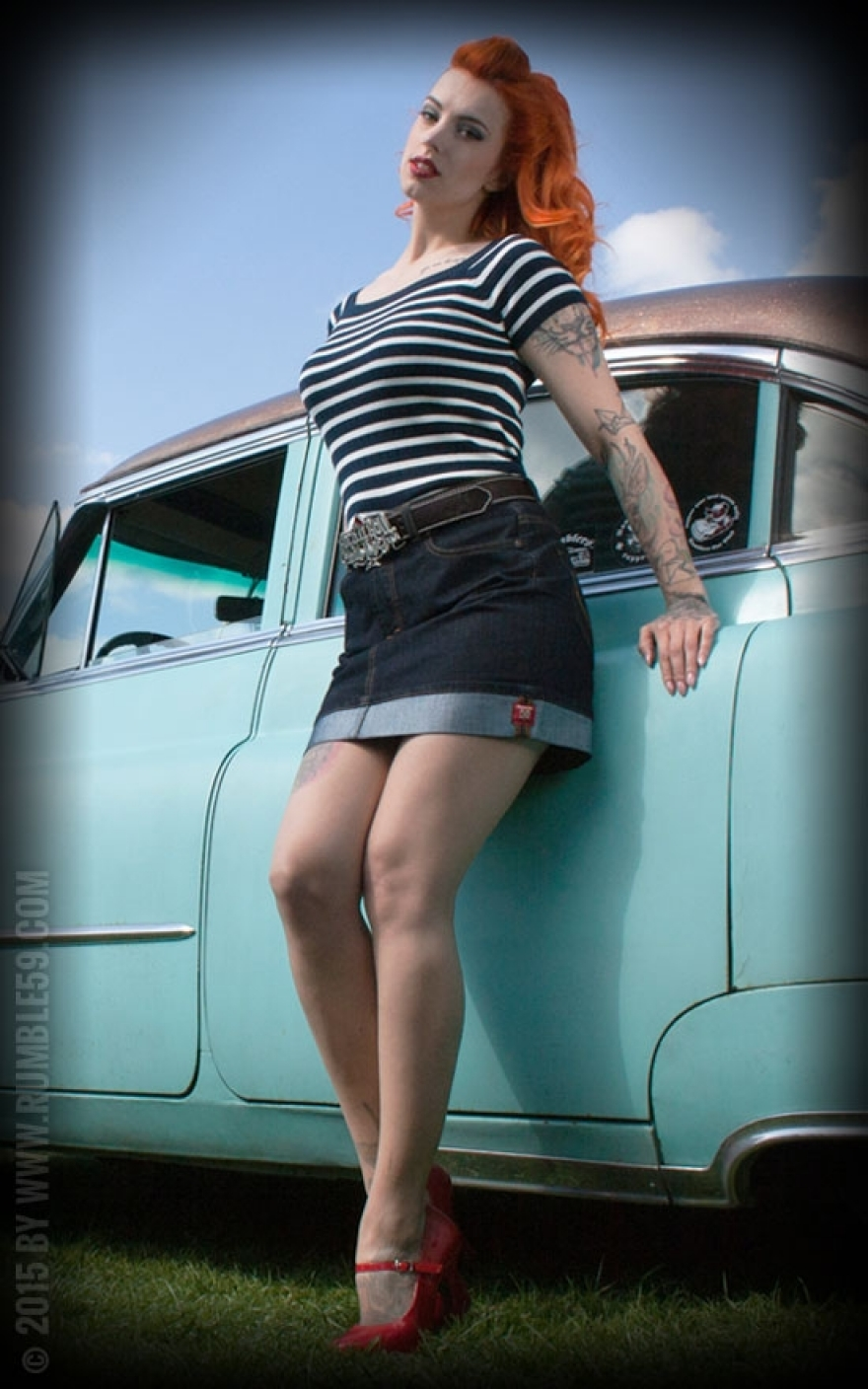 Denim Miniskirt with Perfect Fit | 50er Pin Up Style