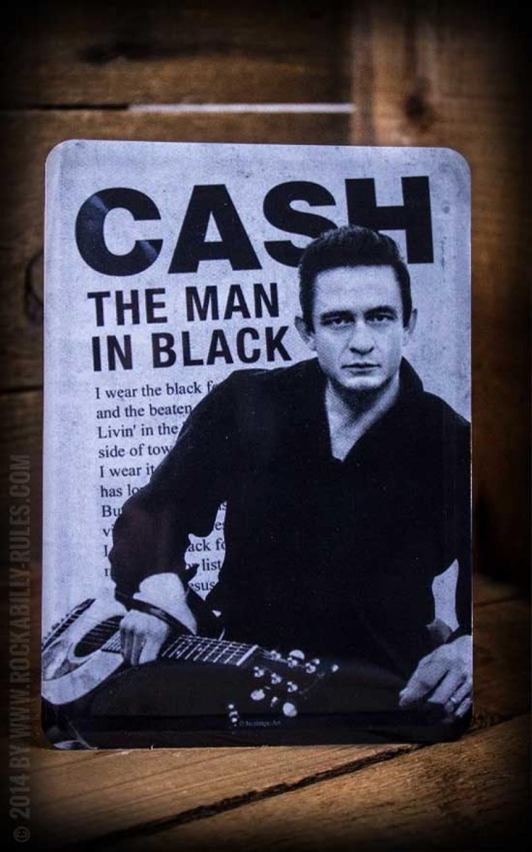 blechpostkarte johnny cash the man in black ideal zum verschenken verschicken oder als deko. Black Bedroom Furniture Sets. Home Design Ideas