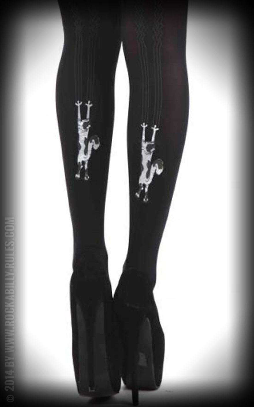 c672c57545d8c Nylon Flocked Tights Climbing Cats | by Pamela Mann