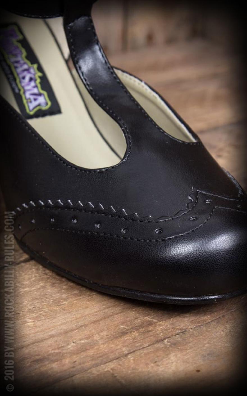 Pleaser Kitten Heels Wingtip T Strap, schwarz | Top Auswahl