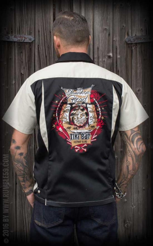 Rumble59 Bowling Shirt Shrunken Head   Rockabilly Rules