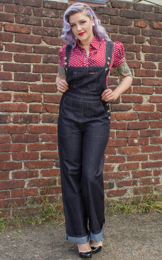 ladies denim playsuit by rumble59 rockabilly 50s style. Black Bedroom Furniture Sets. Home Design Ideas