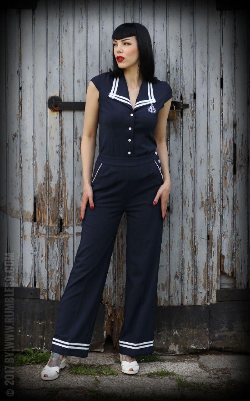 32410518d4272 Rumble59 Ladies - Sailor Marlenehose | Rockabilly Rules