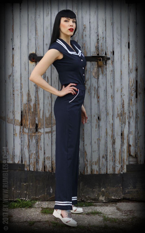 rumble59 ladies sailor marlene pants rockabilly rules. Black Bedroom Furniture Sets. Home Design Ideas