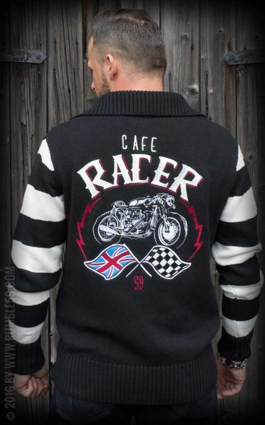 rumble59 racing sweater cafe racer rockabilly rules. Black Bedroom Furniture Sets. Home Design Ideas