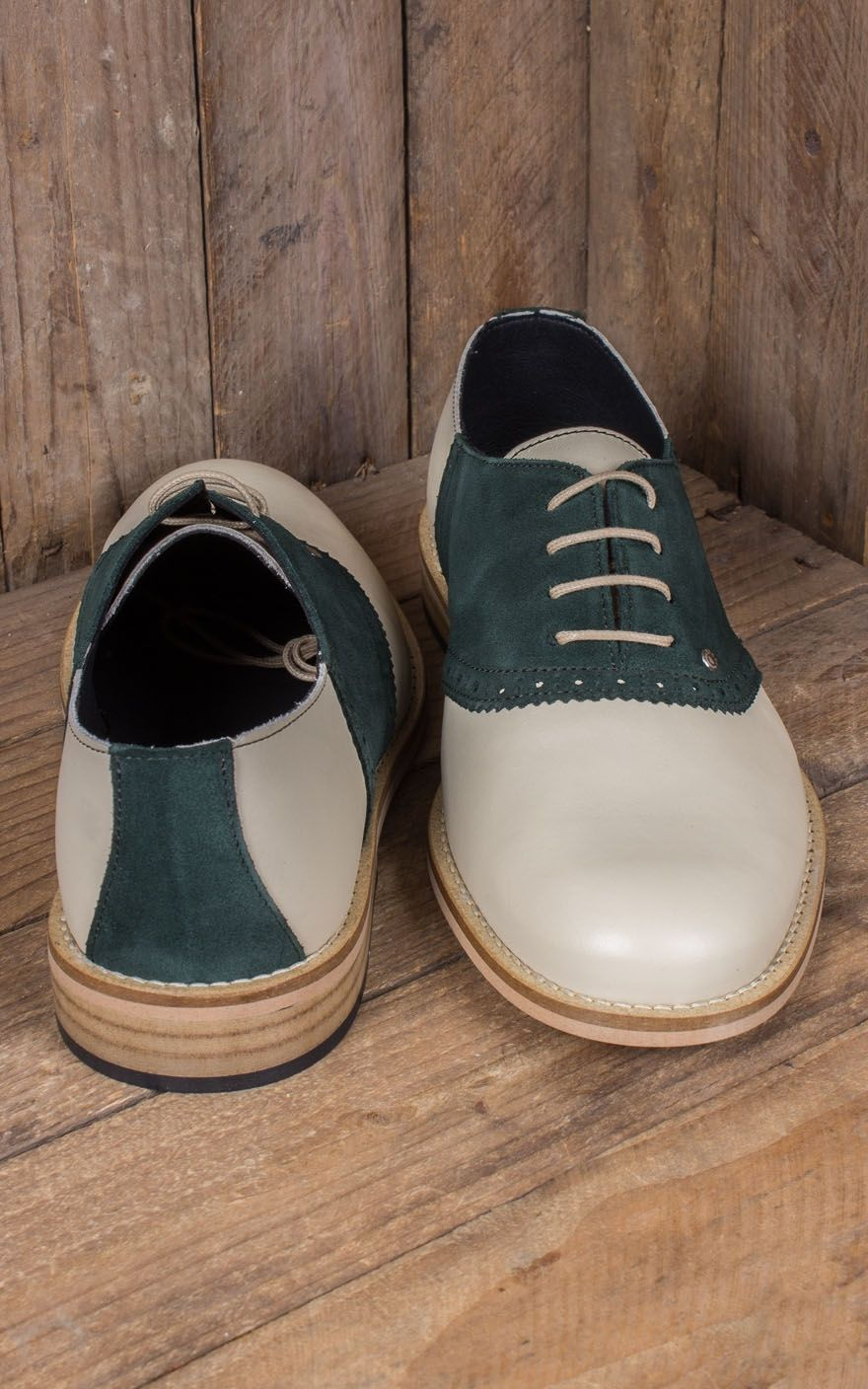 Steelground Saddle Shoes Beige Green Rockabilly Rules