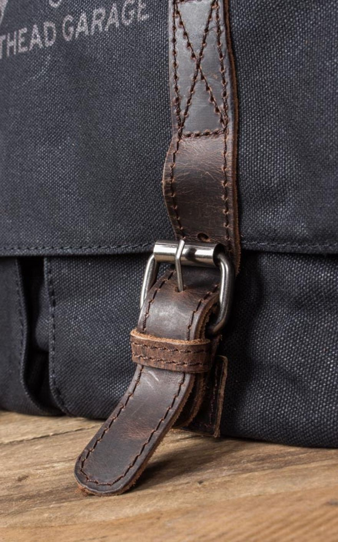 Rumble 59 Water Resistant Canvas Messenger Bag Black