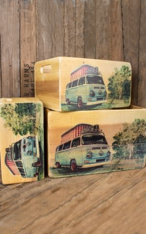 Set of 3 wooden crates VW T2