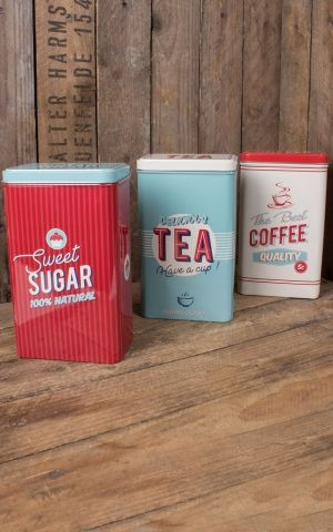 Set of 3 storage cans Sweet Sugar, Tea and Coffee