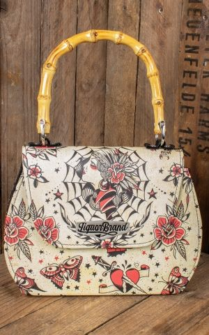 Liquorbrand Sac à main en bambou Tattoo Gypsy Queen