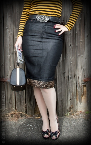 Rumble59 Ladies Denim - Perfect Pencil Skirt - black