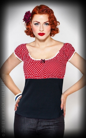 Rumble59 Ladies - Carmenshirt - Sweet Polkadots - wine red