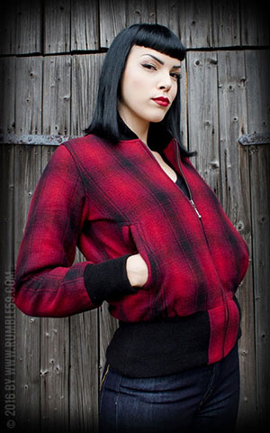 Rumble59 - Ladies Checked Jacket - Red Rosie