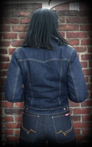 Rumble59 - Female Denim Jacket with teddy-bear cloth