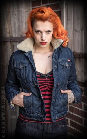 Rumble59 - Female Denim Jacket with teddy-bear cloth