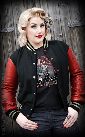 Lady Leather Baseball Jacket - black