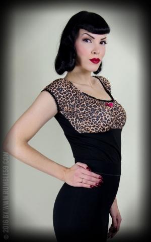 Rumble59 Ladies - Carmenshirt - Hot Leopard