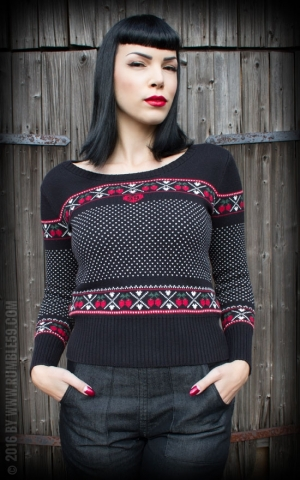 Rumble59 Ladies - Norwegian Sweater - Cherry Heartbeats