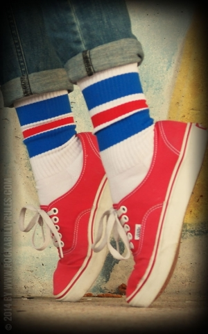 Lo Skatersocken HotRod Oldschoolsocks - Royal Reds