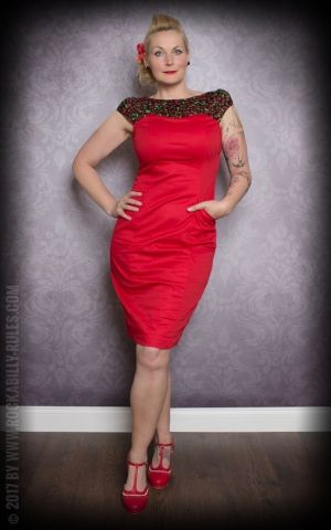 Etuikleid | Pencil Skirt Kleid, rot mit Kirschendetail