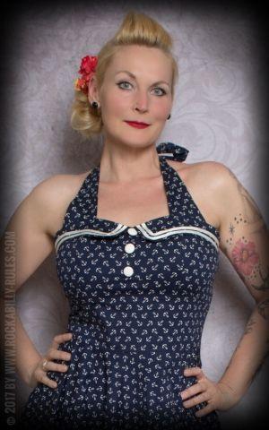 Neckholder Petticoatkleid - Anker, blau-weiß