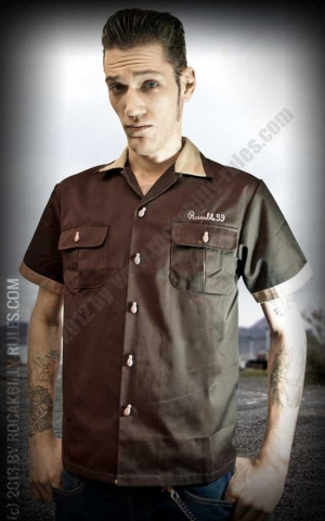 Rumble59 - Bowling Shirt - Bill's Speed Shop - brown