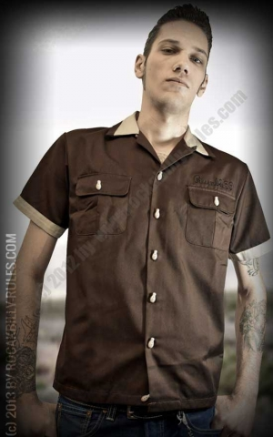 Rumble59 - Bowling Shirt - Piston Pete - brown
