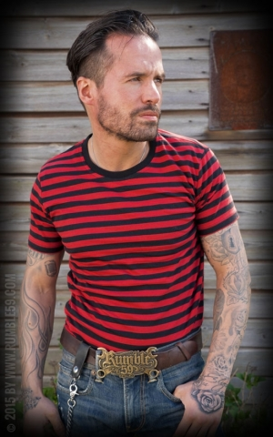 Rumble59 - Striped Shirt - black/ red