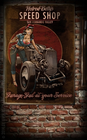 Rumble59 Poster - Hotrod Betty's Speed Shop