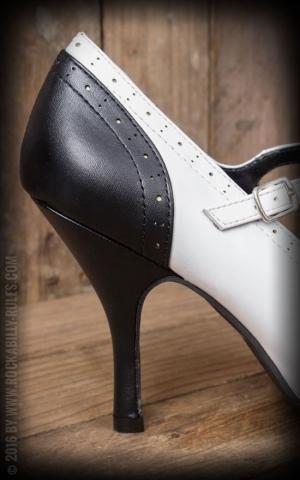 TUK Black and White Wingtip T-Strap Bombshell Heel