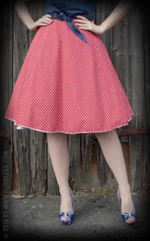 Rumble59 Ladies - Tellerrock - Sweet Polkadots - weinrot