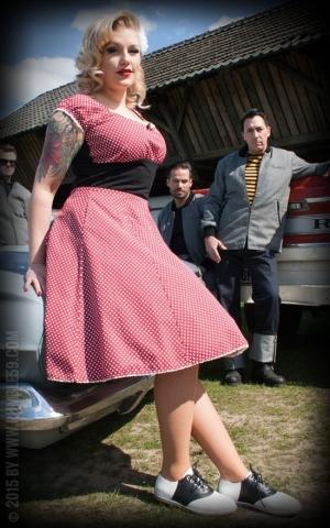 Rumble59 Ladies - Tellerrock - Sweet Polkadots - weinrot