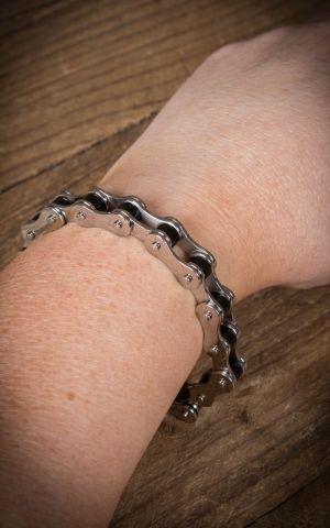 Stainless Steel Bracelet - Bike Chain, silver