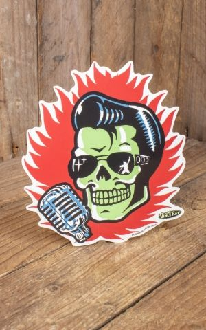 Sticker Vince Ray Elvis Skull