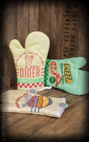Oven gloves in Vintage Style, various designs