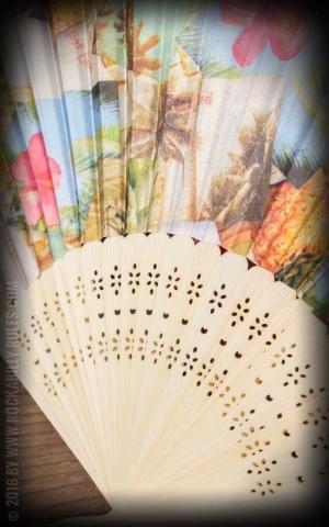 Bambus Handfächer mit Hawaiianischen Motiven | Hibiskus Ananas