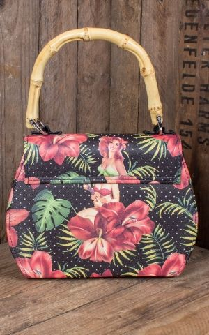 Liquorbrand Bamboo Handbag Hula Girl