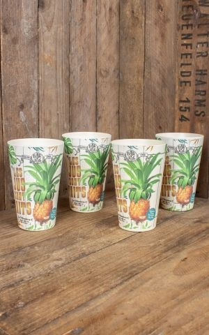 Set of 4 large bamboo tumblers Les Jus sont faits