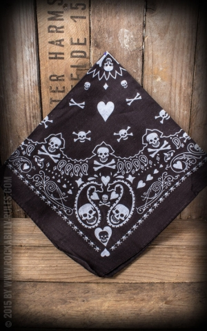 Bandana with Skulls and Playing cards, black