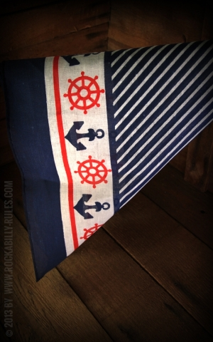 Navy Anchor & Helm Bandana