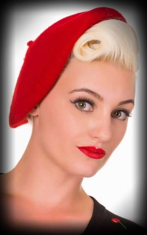 Beret Wool Hat Viviane, red