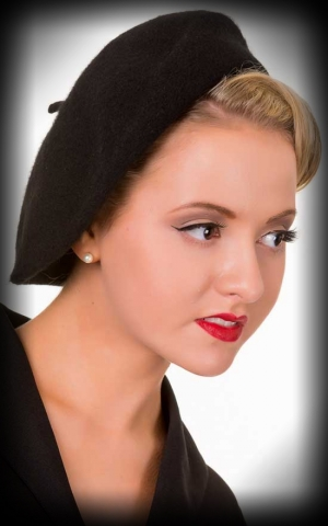 Beret Wool Hat Viviane, black