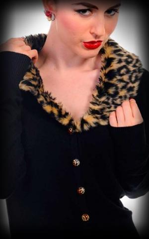 Vintage Cardigan mit Leopard Kunstfellkragen - schwarz