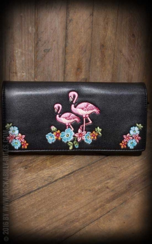 Banned Geldbeutel Wallet Clutch - Flamingo, schwarz