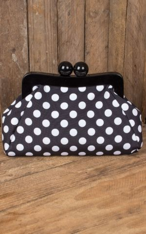 Banned Handbag | Clutch Genevieve Polkadot, black