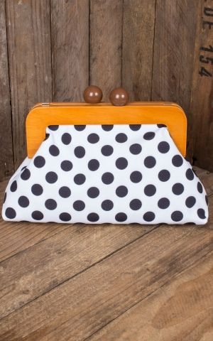 Banned Sac à Main | Clutch Genevieve Polkadot, blanch