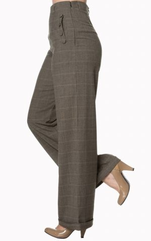 Banned - High Waist Hose Style Crush, braun