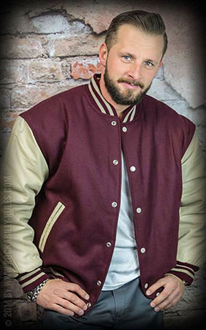 Leather baseball Jacket -bordeaux-